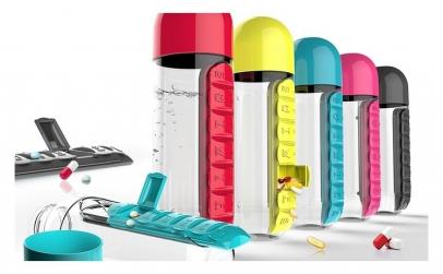 Sticla pentru apa cu organizator pastile