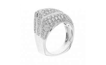Inel din aur alb 18K cu diamante natural