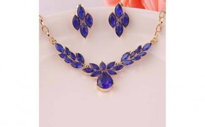 Set bijuterii fashion Flower Blue Crysta