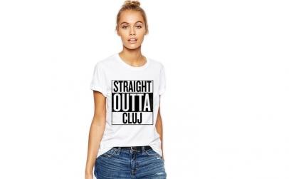 Tricou dama alb -  Straight Outta Cluj