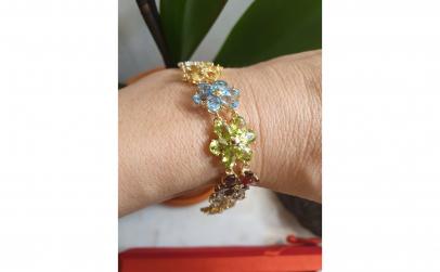 Bratara din aur galben 14K, model floral