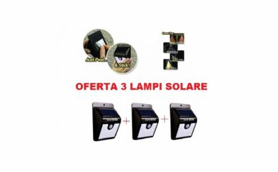 Set 3 lampi cu led, incarcare solara