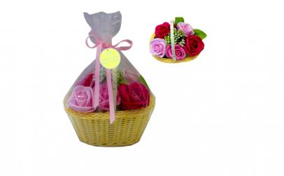 Cos cu 5 trandafiri din sapun  pentru