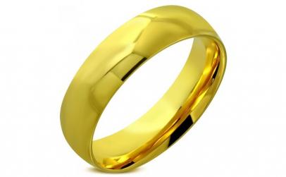 Inel auriu inox model verigheta 6 mm
