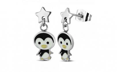 Cercei inox cu pinguini