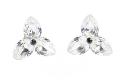 Cercei Pear X3, Cristal/Alb, Argint