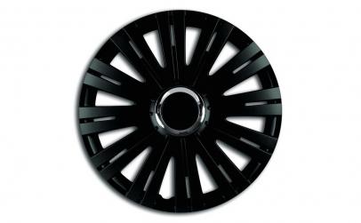 Set capace roti 13` negre cu inel cromat