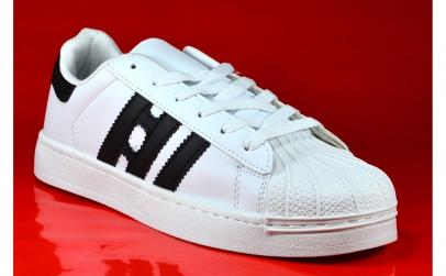 Adidasi barbati-albi alb cu dungi negre