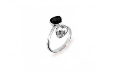 Inel Reglabil Pear X2 Black & White 8 mm