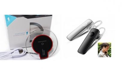 Incarcator Wireless + casca Bluetooth