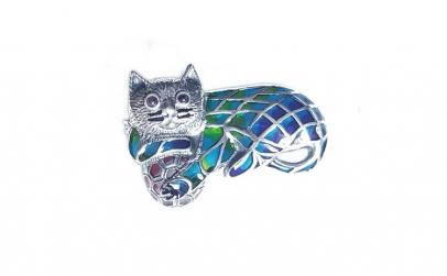 Brosa argint 925 cu pisica