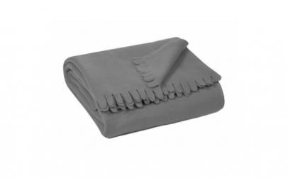 Patura fleece gri cu franjuri groase