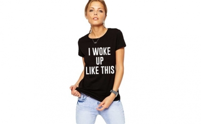 Tricou dama negru -  I woke up like