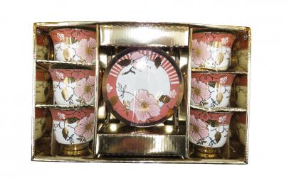 Set 6 cesti cafea cu farfurie, floral