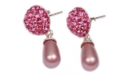 Cercei Ceralun Rose cu Perle