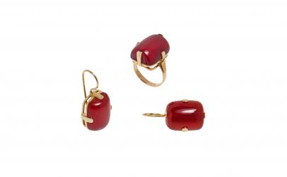 Set cercei si inel din aur 18 k