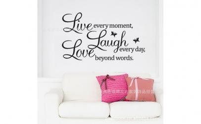 Autocolant Live Laugh Love cu fluturi