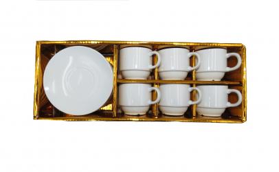 Set cesti cafea cu farfurie, albe, cutie