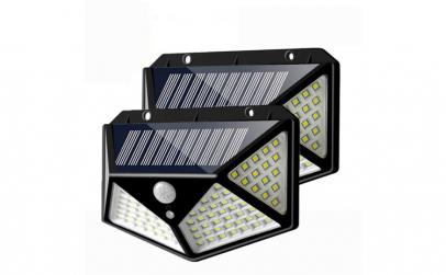 Set 2 x Lampa 100 LED cu panou solar,