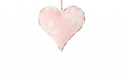 Decoratiune inima roz cu flori albe, 10