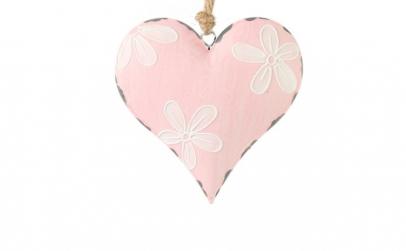 Decoratiune inima roz cu flori albe, 23