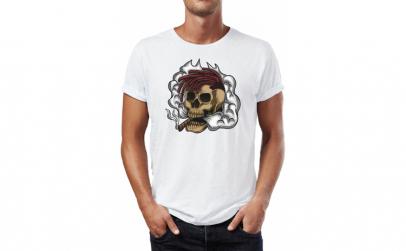 Tricou barbati Smoking Skull, Bumbac