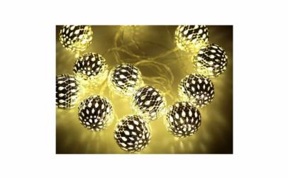 Instalatie globuri aurii 20 LED alb cald