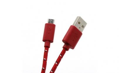 Cablu SBOX microUSB 1m Red impletit