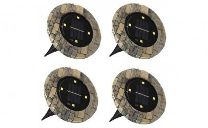 Set 4 lampi solare Disk Lights