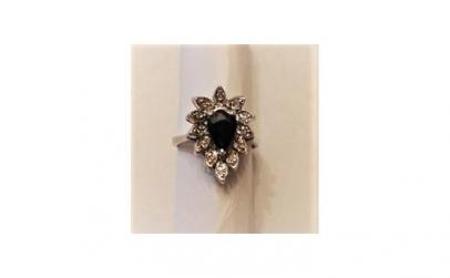 Inel din Argint cu safir si diamante