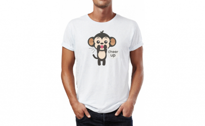 Tricou barbati Funny Monkey, Bumbac