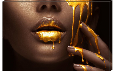Tablou Canvas Gold Lips 95 x 65 cm