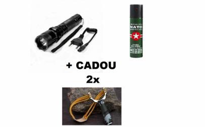 Lanterna cu electrosoc+Spray lacrimogen