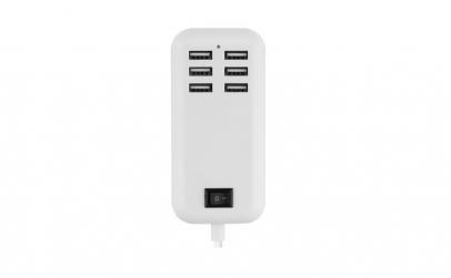 Hub adaptor USB, 6 porturi, alb, Gonga