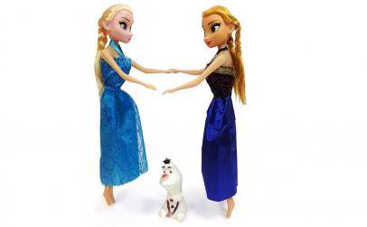 Set Papusi Anna si Elsa 30cm + Figurina
