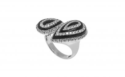 Inel din aur alb 18K cu email si diamant