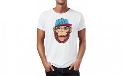 Tricou barbati Nyc Monkey, Bumbac 100%,