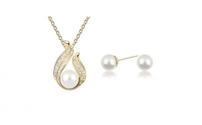 Set bijuterii Arinna cu perle si Aur 18K