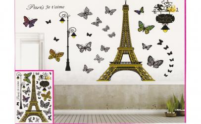 Sticker decorativ 5D Flori alb,negru