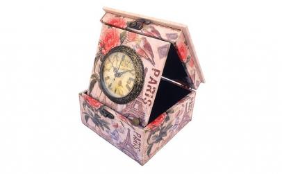Cutie decor cu ceas - Paris  16x20 cm