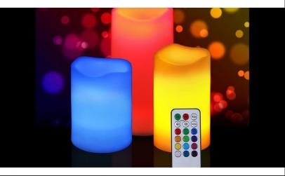 Set 3 lumanari led 12 culori telecomanda