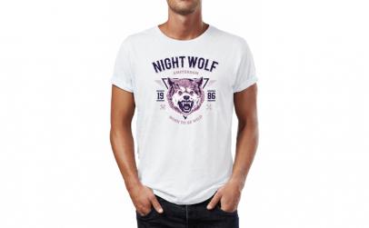 Tricou barbati Night Wolf, Bumbac 100%,
