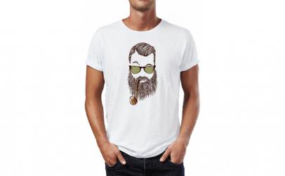 Tricou barbati Beard Pipe, Bumbac 100%,