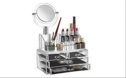 Organizator cosmetice cu oglinda
