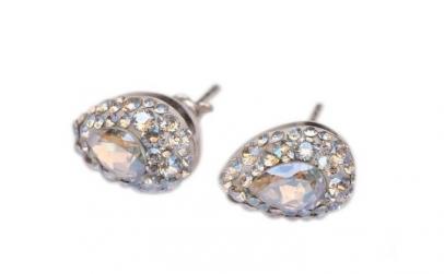 Cercei Pear Ceralun, Cristal, Argint
