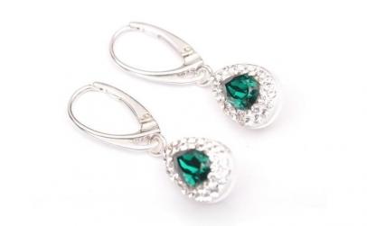 Cercei Leverback Pear, Emerald/Cristal,