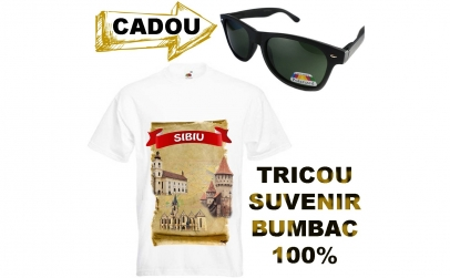 Tricou suvenir SIBIU+ochelari cadou