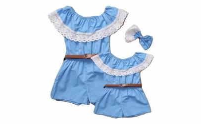 Set salopete mama-fiica, albastra