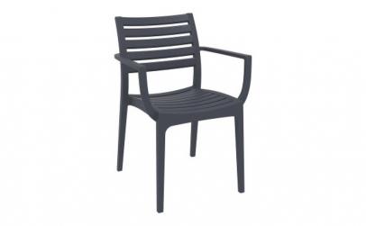 Scaun cu brate Plastic lux culoare gri