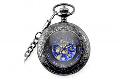 Ceas de buzunar negru cu albastru skelet